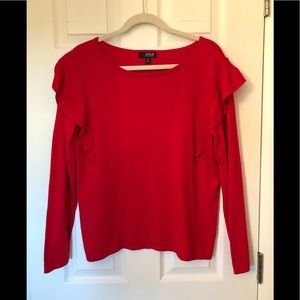 a.n.a. red ruffle sweater